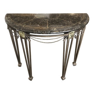Federal Style Black Marble Demi-Lume Table For Sale