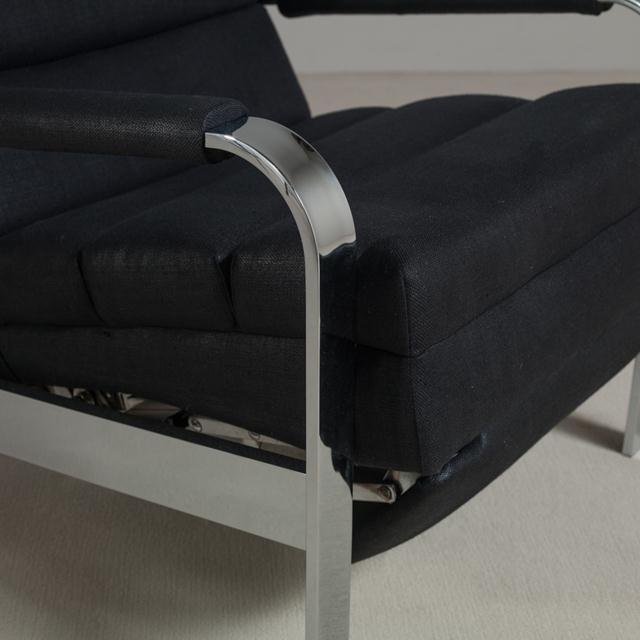 1970s Chromium Steel Framed Reclining Armchair, 1970s For Sale - Image 5 of 6