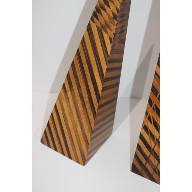 Vintage Parquetry Wood Obelisks - Set of 2 For Sale In West Palm - Image 6 of 13