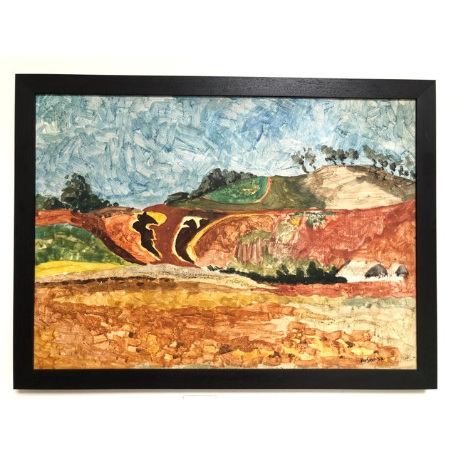 1958 Original Tom Van Sant California Landscape Painting, Signed and Dated For Sale - Image 9 of 9