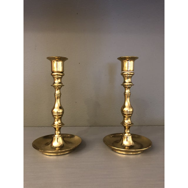 Gold Mid Century Brass Curved Base Candle Holders - A Pair For Sale - Image 8 of 8