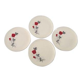 Vintage Red Rose Dinner Plates - Set of 4