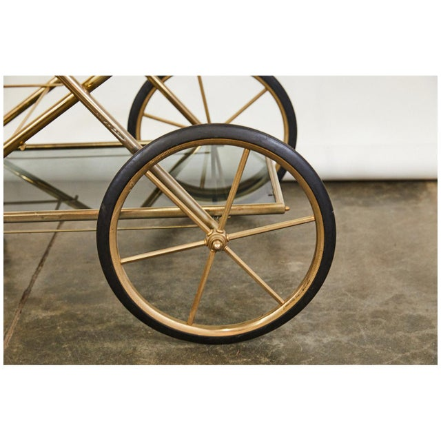 1950s Brass and Glass Bar Cart For Sale - Image 5 of 6