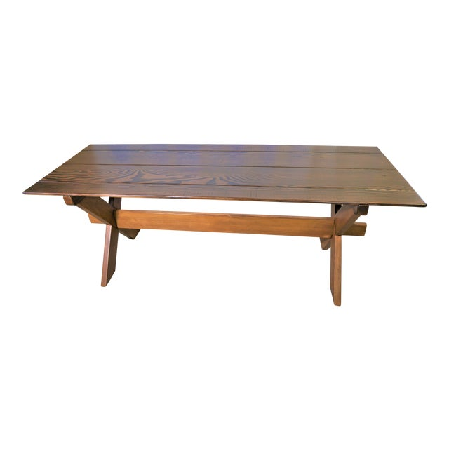 Country Handcrafted Cross Leg Trestle Douglas Fir Dining Table For Sale