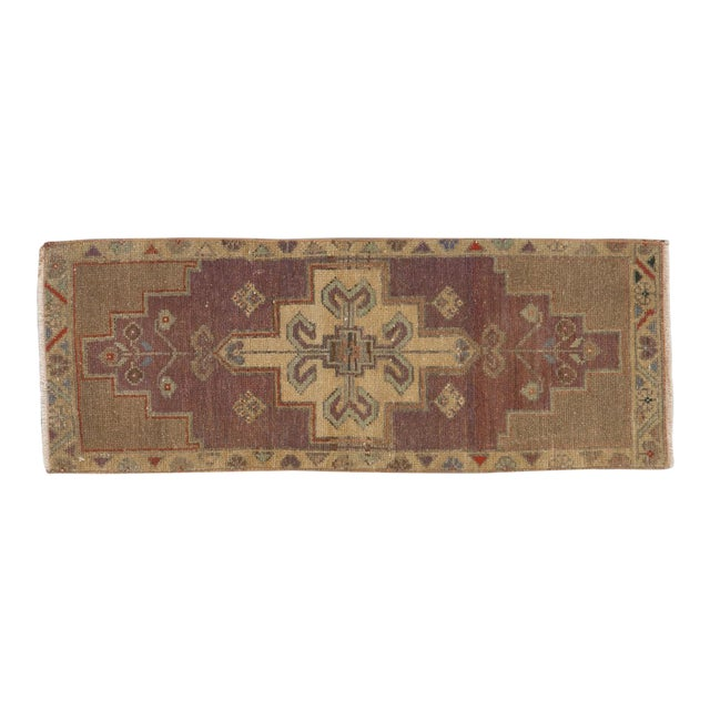"Vintage Distressed Oushak Rug Mat Runner - 1'2"" X 3'1"" For Sale"