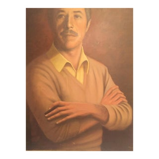 1950s Mid Century Modern Portrait Painting on Canvas For Sale