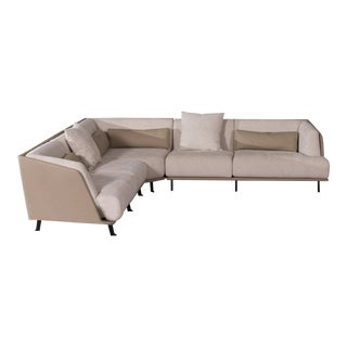 VIP Saloti Clayton Fabric & Leather Sectional For Sale