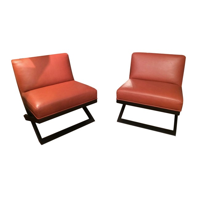Leather & Ebonized Wood Club Chairs - A Pair - Image 1 of 5