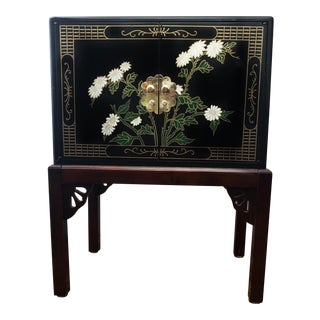 1950s Chinoiserie Handpainted Black Cabinet on Base