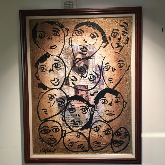 """Peter Keil Canvas Painting, """"Shakespeare Faces"""" For Sale - Image 13 of 13"""