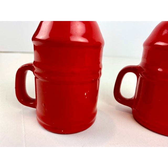 Ceramic Mid-Century Modern Vintage Japanese Glazed Red Ceramic Salt and Pepper Shakers - a Pair For Sale - Image 7 of 10
