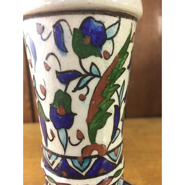 White Middle Eastern Hand-Painted Glazed Pottery For Sale - Image 8 of 11