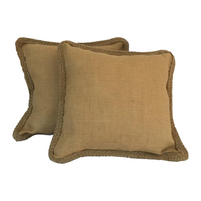 Braided Burlap Pillows - A Pair - Image 1 of 4