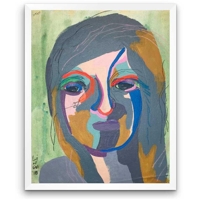 """Contemporary Abstract Portrait Painting """"She's the Girl"""" - Framed For Sale - Image 12 of 12"""