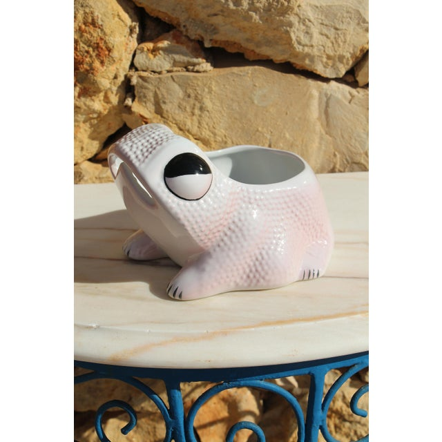 1970's Vintage Hobnail Frog Planter in the Style of Jean Roger For Sale - Image 13 of 13