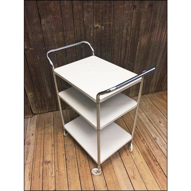 Mid Century Modern Beige Metal Cosco 3 Tier Cart - Image 4 of 11