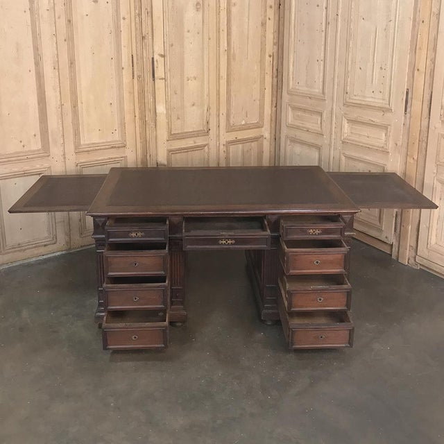 French 19th Century French Henri II Walnut Partner's Desk For Sale - Image 3 of 13