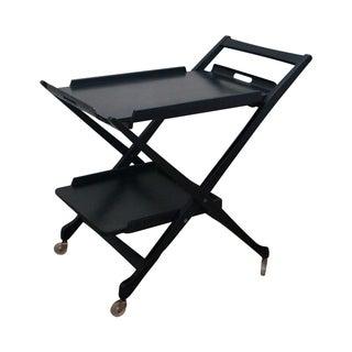 Italian Mid-Century Modern Black Ebonized Bar Cart For Sale