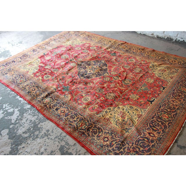Vintage Hand-Woven Persian Rug - 7′4″ × 8′12″ - Image 3 of 9