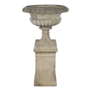 Large English Garden Stone Planter or Urn on Plinth or Pedestal For Sale