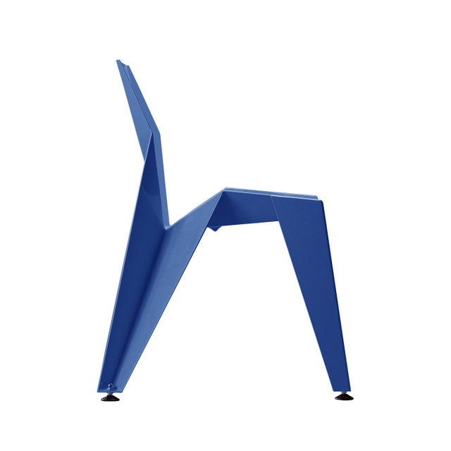 Origami Inspired Edge Blue Chair | Indoor & Outdoor Chair For Sale In San Francisco - Image 6 of 8