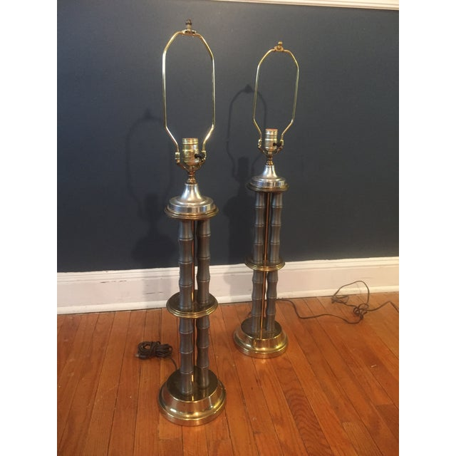 Vintage Metal & Brass Faux Bamboo Lamps - A Pair For Sale - Image 4 of 7