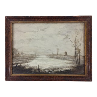 Small French Oil Landscape Painting of a Snowy Day