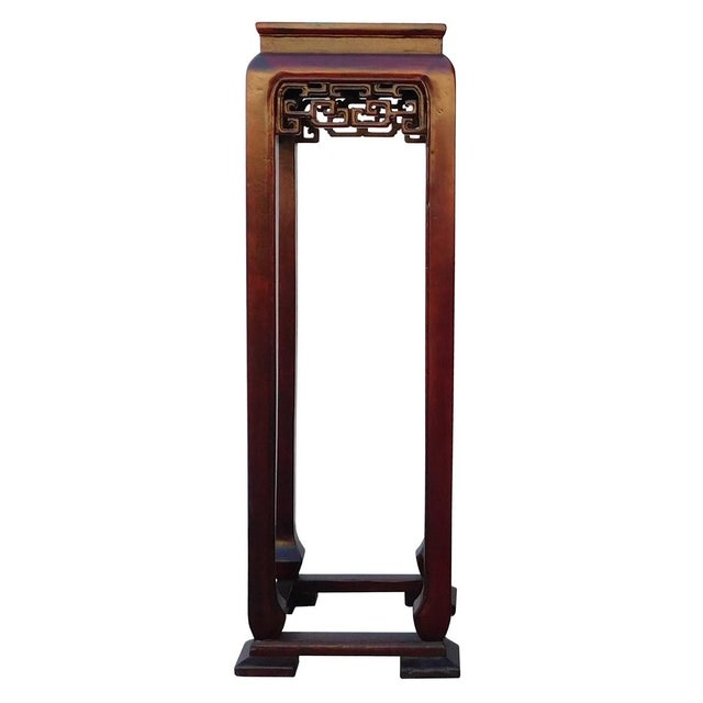 Oriental Plant Pedestal in Red Brown Stain - Image 1 of 5