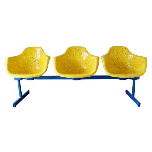 Vintage Krueger Mid Century Modern Metal Sculptural 3 Seat Tandem Bench For Sale