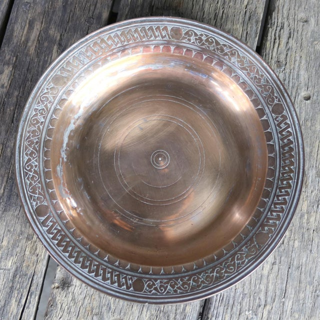 Turkish Ottoman Antique Copper Plate or Dish Hand Forged and Hand Chiseled Tinned For Sale - Image 10 of 13