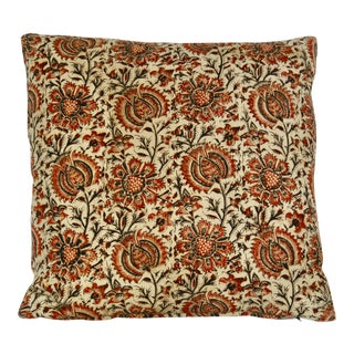 Vintage Hand Blocked Jacobean Print Pillow For Sale