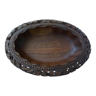 Vintage Hand Crafted Oval Walnut Bowl For Sale