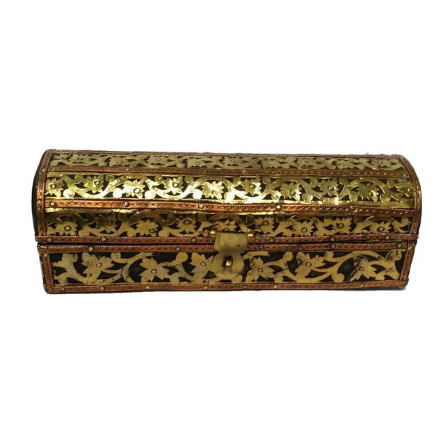 Mhart Gilded Gold Brass Wooden Jewelry Box - Image 1 of 4