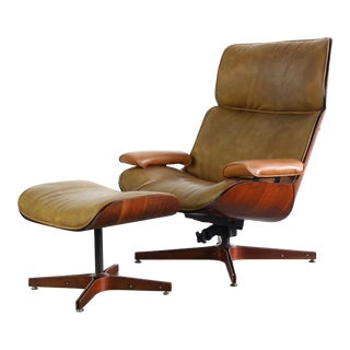 Mid Century Modern Mr. Chair for Plycraft by George Mulhauser Chair & Ottoman For Sale