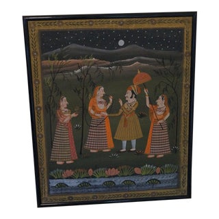 Vintage Mid-Century Pichwai Rajasthani Painting on Silk For Sale