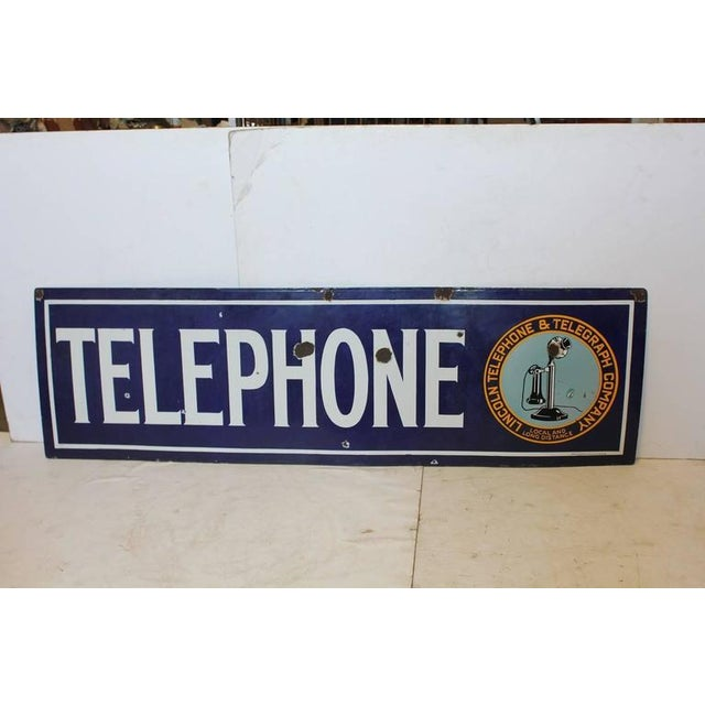 Carnival 1920s Vintage Lincoln Telephone and Telegraph Company Sign For Sale - Image 3 of 3