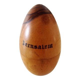 Olive Wood Egg Needle Holder For Sale