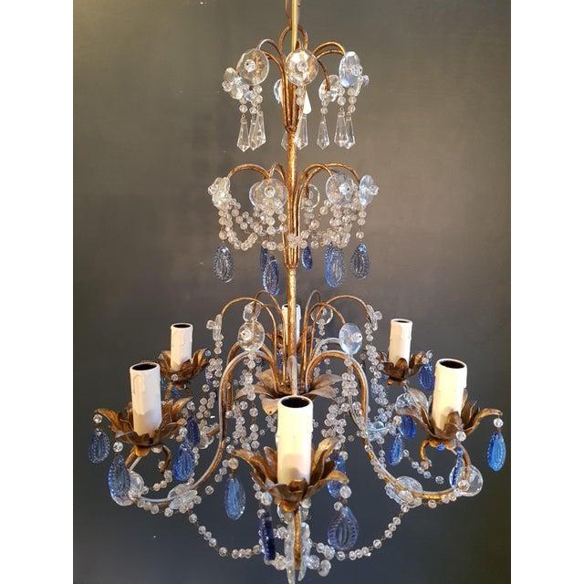 Art Deco Fine Beaded Blue Crystal Chandelier Antique Ceiling Lamp Lustre Art Nouveau For Sale - Image 3 of 8