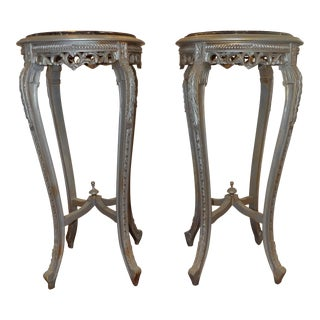 Vintage Carved Round Pedestals With Black Marbled Top-a Pair For Sale