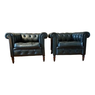 Chesterfield Tufted Green Club Chairs - A Pair For Sale