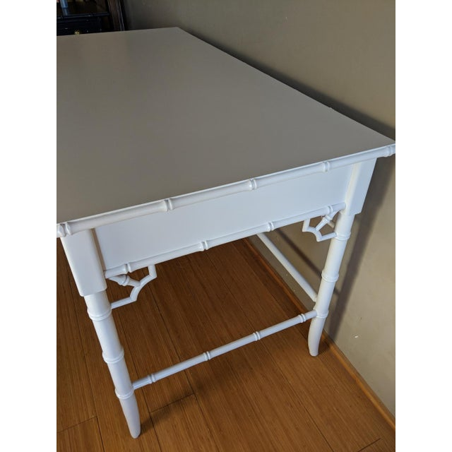 Thomasville 1970s Hollywood Regency Thomasville Allegro Faux Bamboo White Desk For Sale - Image 4 of 8