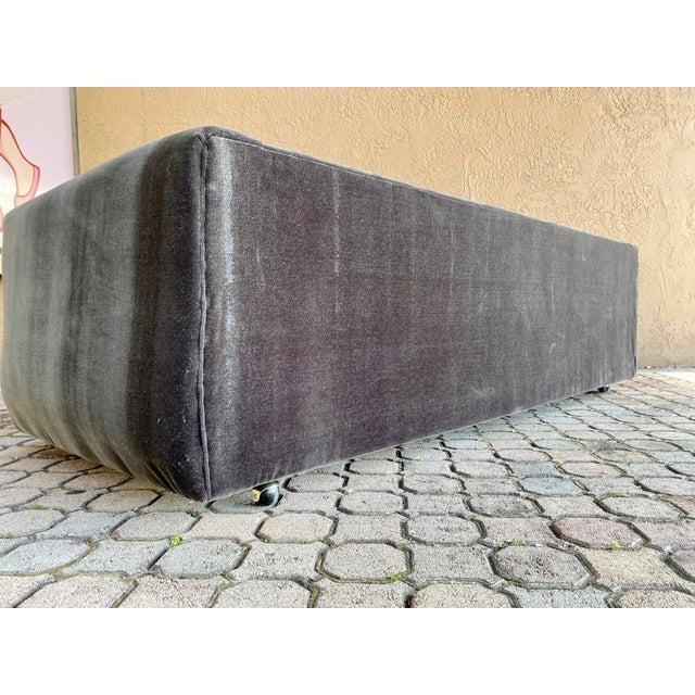 1970s Restored 70s Gray Velvet Tuxedo Sofa For Sale - Image 5 of 9