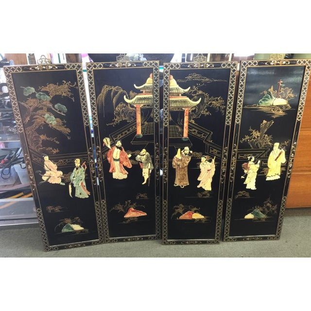 Black Chinese Black Lacquer Hardstone Wall Panels Set of Four For Sale - Image 8 of 8