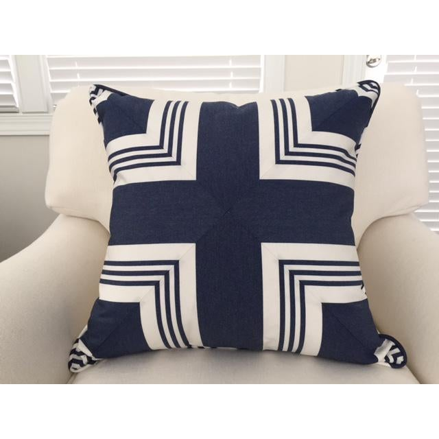 Ralph Lauren Ralph Lauren Nautical Striped Pillow With Feather/Down Insert For Sale - Image 4 of 4