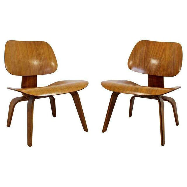 Mid Century Modern Pair Early Rare Charles Eames Lcw Lounge Side Chairs 50s For Sale - Image 9 of 9