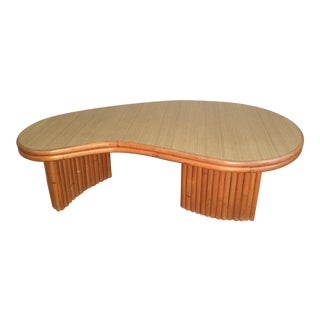 Paul Frankl Style Mid Century Modern Kidney Rattan Coffee Table