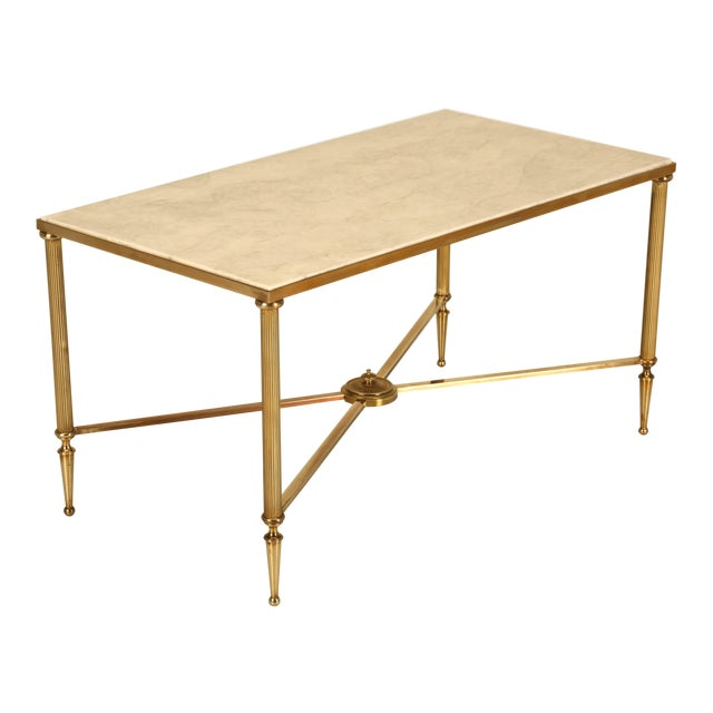 French Mid-Century Modern Coffee or Cocktail Table in Polished Solid Brass For Sale