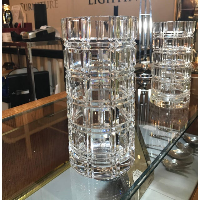 1950s Mid-Century Modern Cut Crystal Cylinder Vases - a Pair For Sale - Image 4 of 11