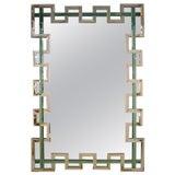 Image of Contemporary Italian Geometric Murano Glass Mirror With Aqua Green Ribbon For Sale