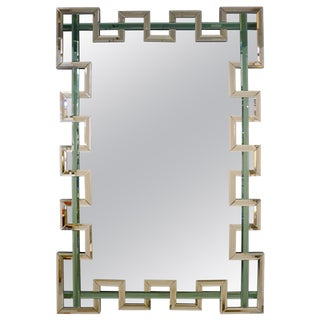 Contemporary Italian Geometric Murano Glass Mirror With Aqua Green Ribbon For Sale